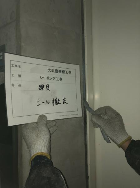 (11)共用部建具周りシール撤去作業