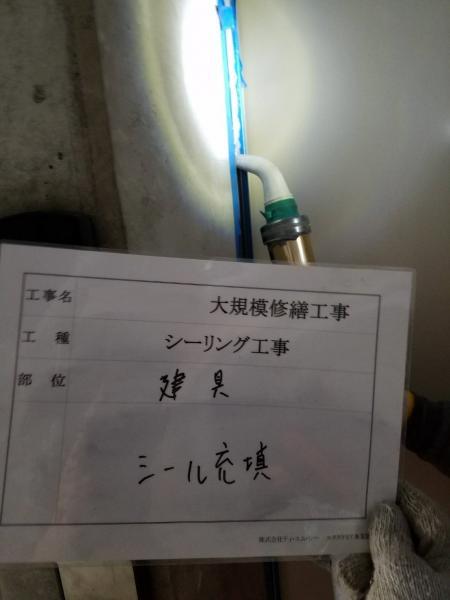 (13)共用部建具周りシール充填作業