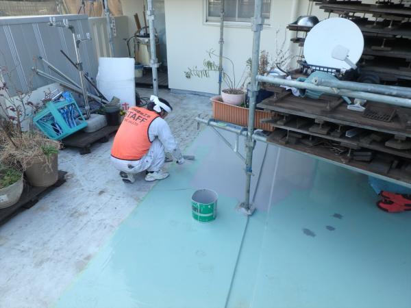 (4)東側バルコニー片面トップコート塗装1